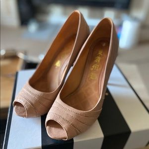 Super stylish designer peep-toe heels